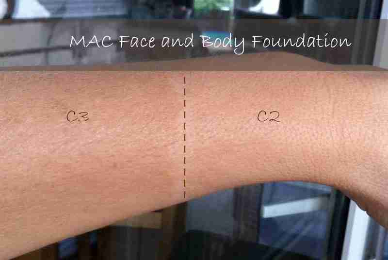 MAC Face and Body Foundation swatches