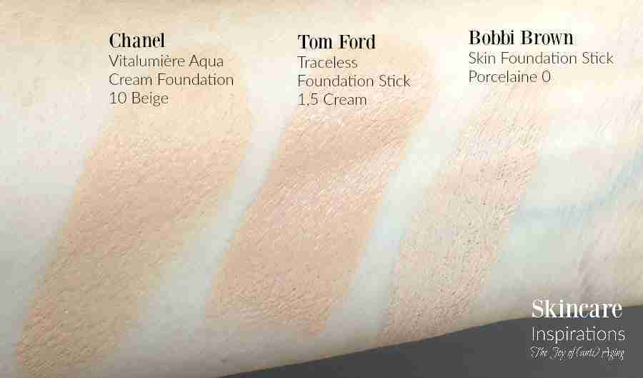 Foundation swatches Chanel vitalumiere Tom Ford Traceless Bobbi Brown Stick