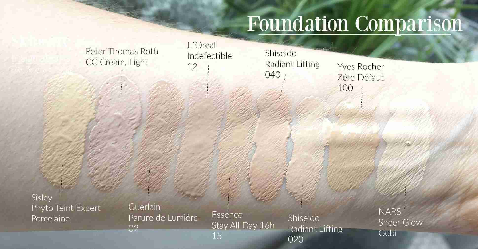 foundation-swatches-roth-guerlain-shiseido-yves-rocher-sisley-essence