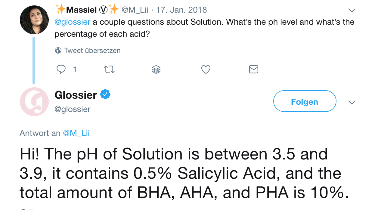 Glossier Solution pH