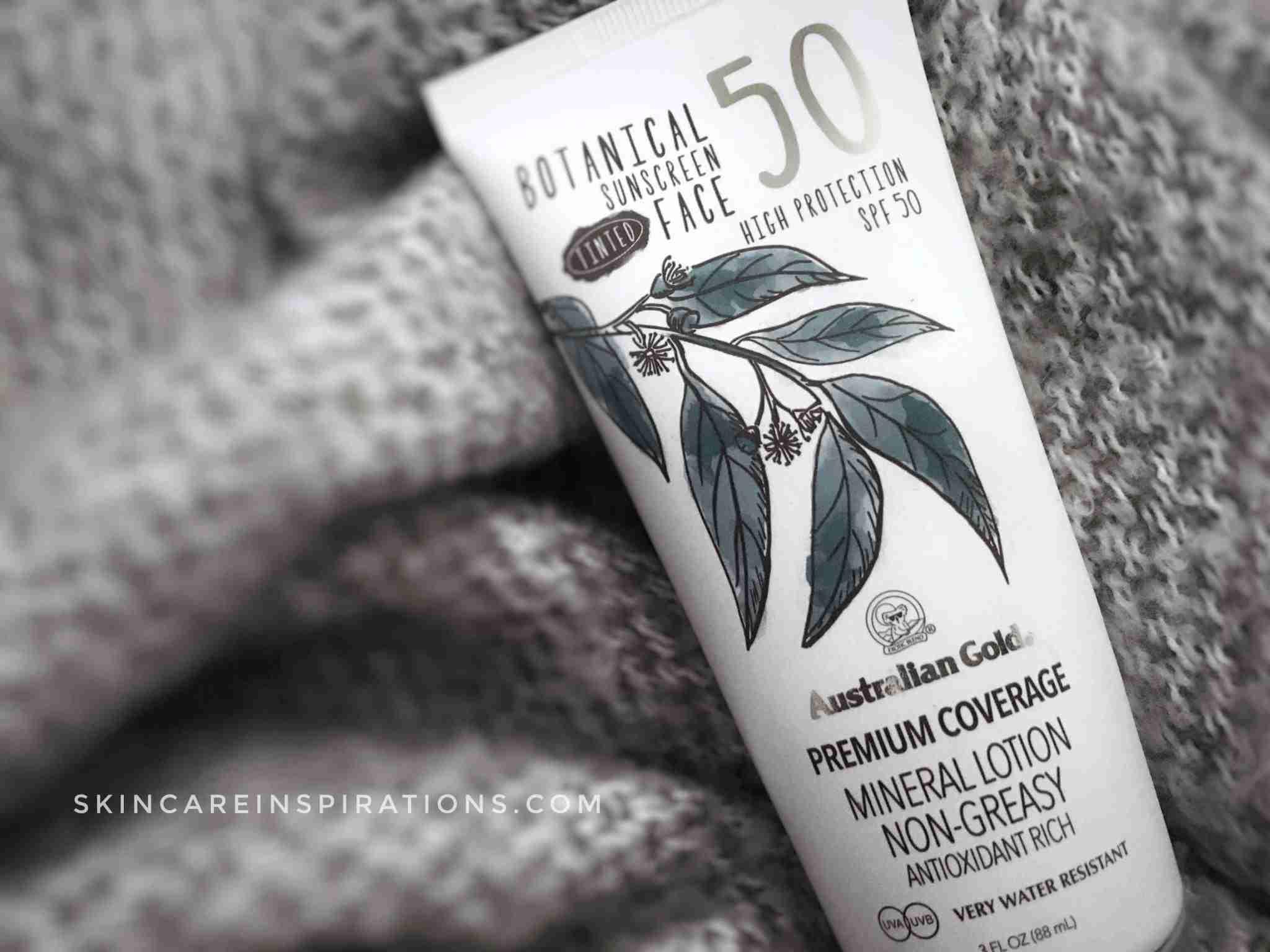 Mattierende Sonencreme für fettige Haut Australian Gold Botanical Sunscreen Face Swaches 1