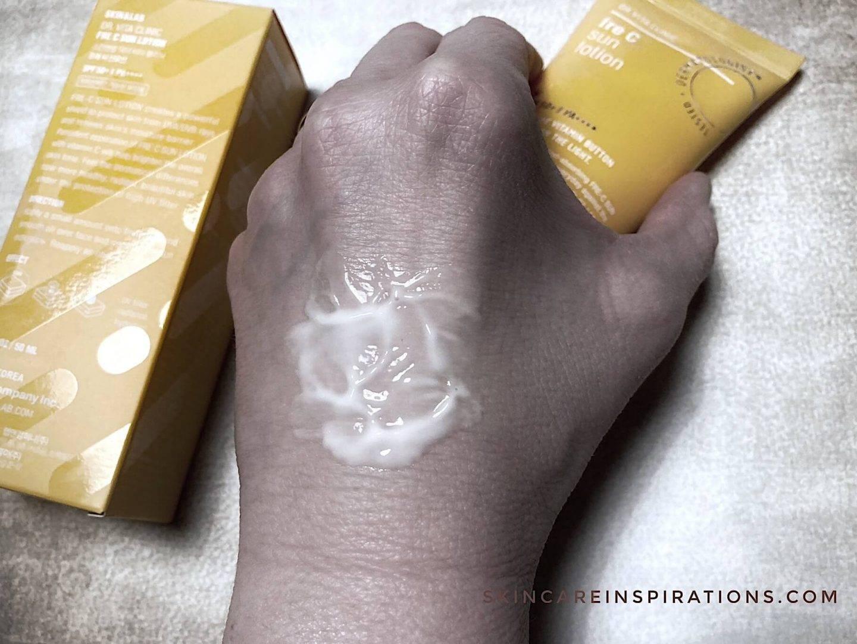 Skin&Lab Fre C Lotion SPF50+ Konsistenz Test